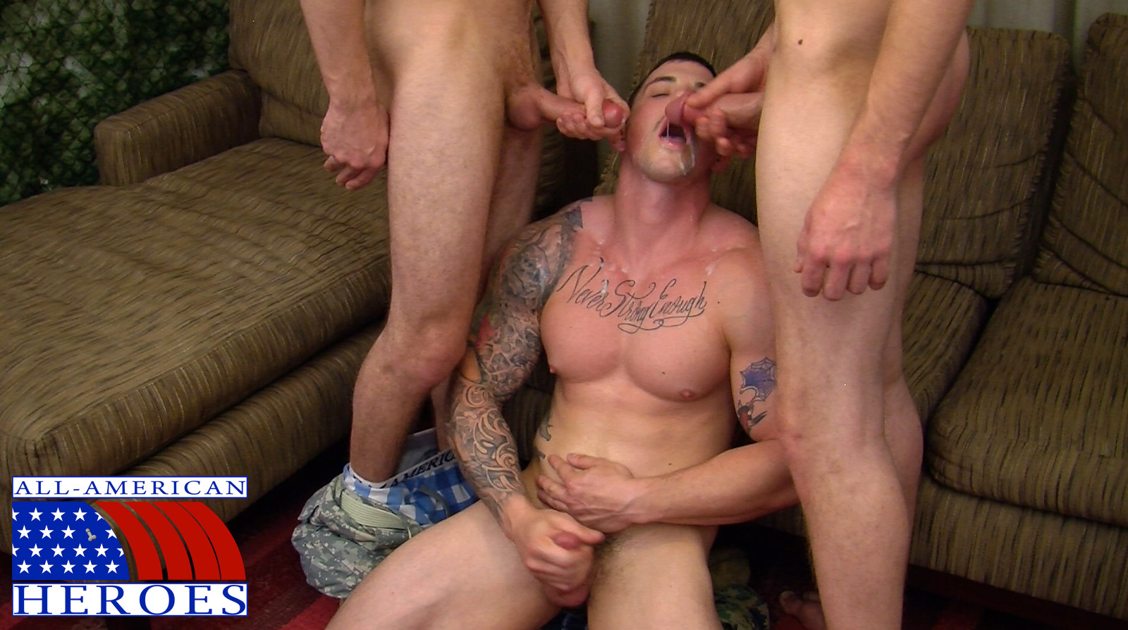 All American Heroes Sergeant Slate Triple fucking big cocks Army guys Amateur Gay Porn 14 Two Real Army Privates Fuck Their Muscle Sergeant and Cum In His Mouth